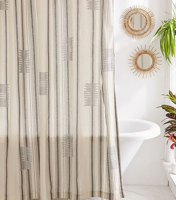 Youll Feel Like Youre Showering At A Hip Hotel Behind This Minimal Boho Curtain