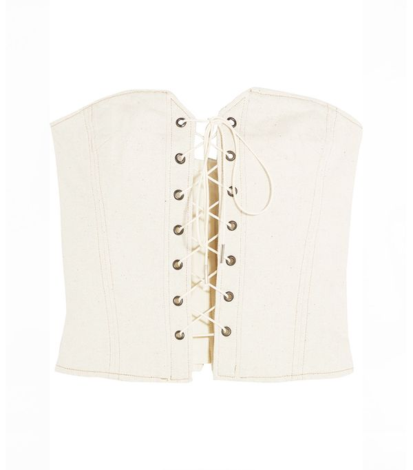Pryam Lace-up Cotton-blend Twill Corset