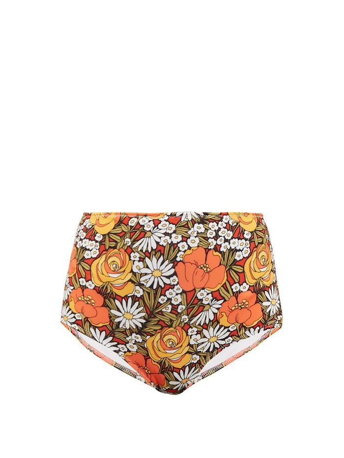 Cuecas de biquíni com estampa floral sólida e listrada X Re / Done Woodstock