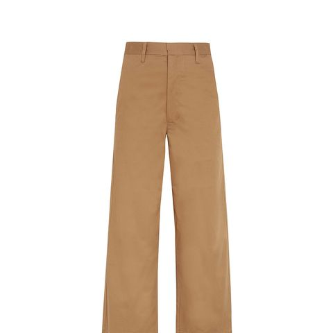 Cropped Cotton-Blend Wide-Leg Pants