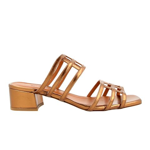 Double Grid Bronze Sandals