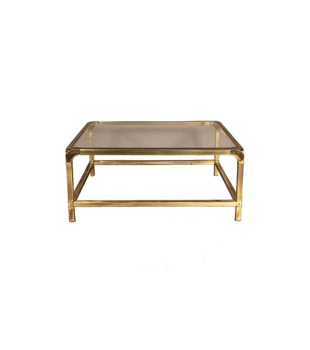 Chairish Mastercraft Brass and Glass Coffee Table