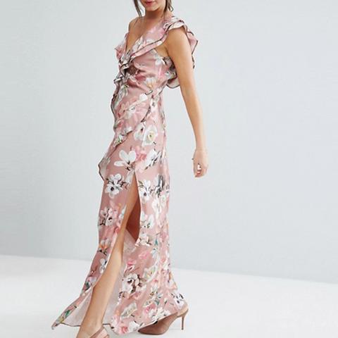 ASOS Dusky Floral Ruffle Cami Maxi Dress