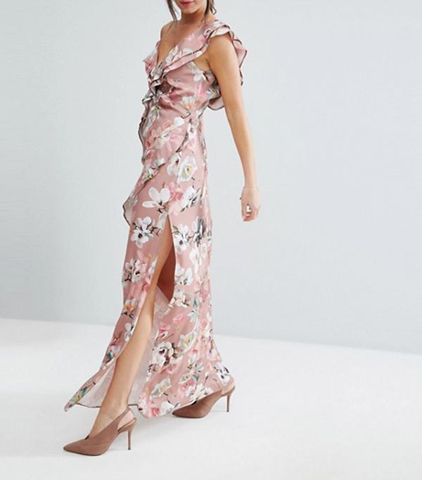beach wedding dresses - ASOS Dusky Floral Ruffle Cami Maxi Dress