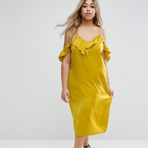 Satin Ruffle Cami Cold Shoulder Midi Dress