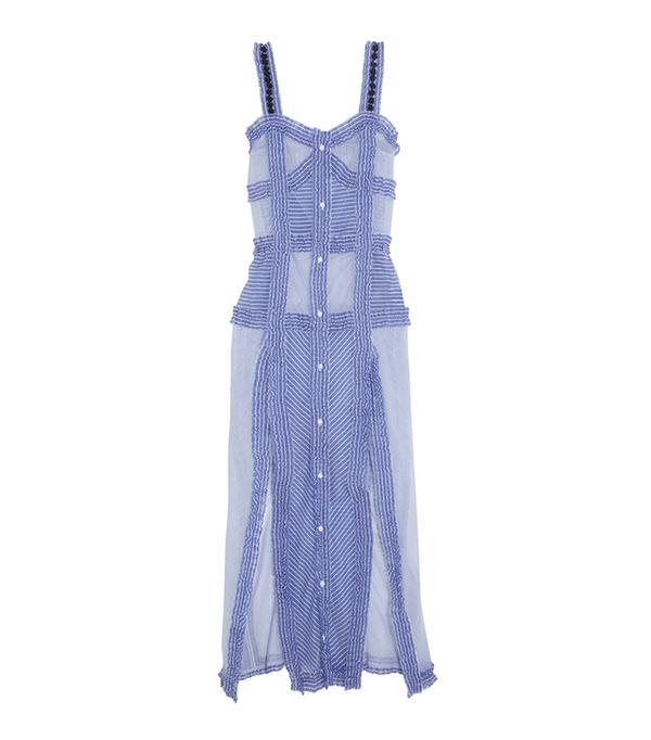 beach wedding dresses - Attico Margarita Ruffled Striped cotton and Silk-Blend Maxi Dress