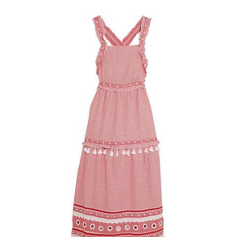 Embellished Lace-Trimmed Cotton-Jacquard Midi Dress