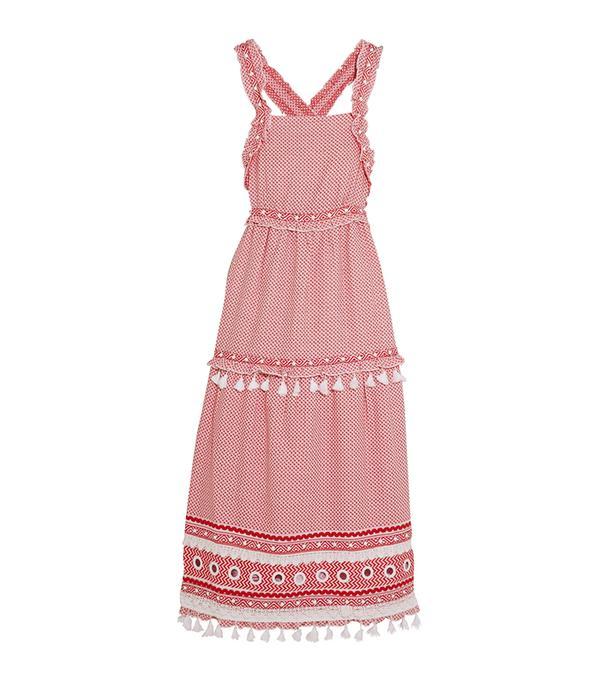 beach wedding dresses - Dodo Bar Or Embellished Lace-Trimmed Cotton-Jacquard Midi Dress