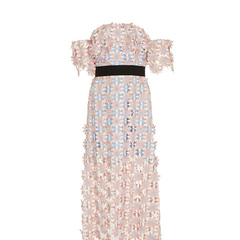 Off-the-Shoulder Guipure Lace Midi Dress