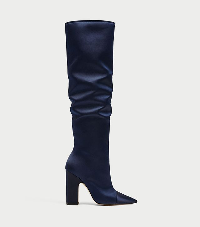 Zara Sateen High Heel Boots