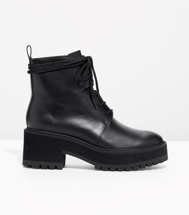 Leather Platform Lace-Up Boots