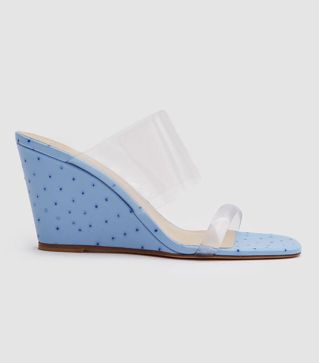 Olympia Wedge in Blue Faux Ostrich