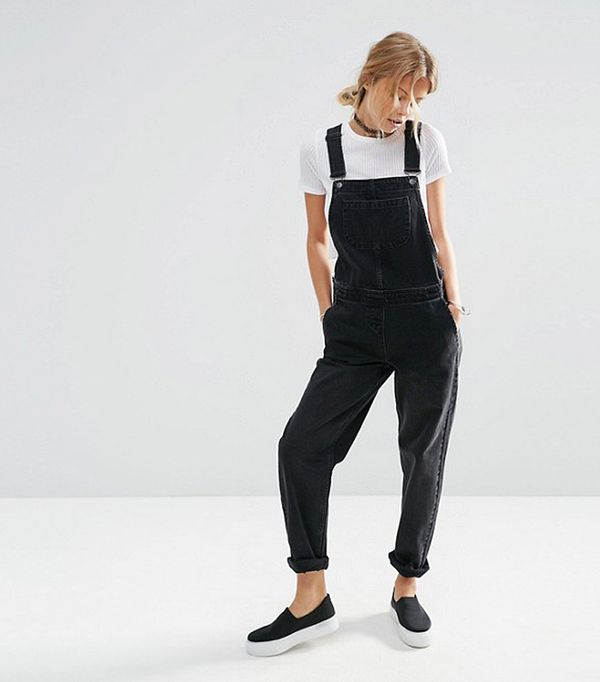 Denim Overalls in Washed Black
