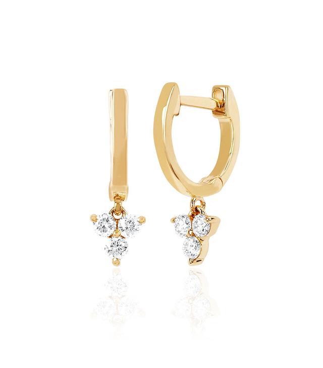 EF Collection Gold Mini Huggie With Diamond Trio Drop Earring