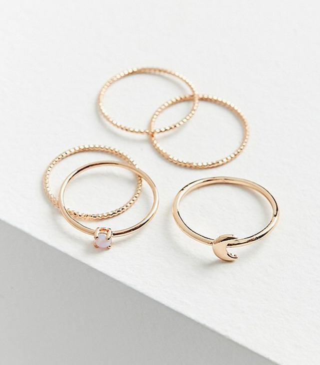 Opal Moon Ring Set