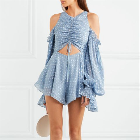 Did It Again Cutout Gathered Flocked Georgette Playsuit