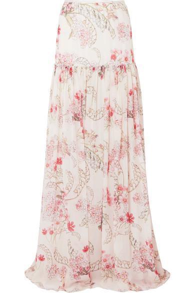 Floral-print Silk-chiffon Maxi Skirt