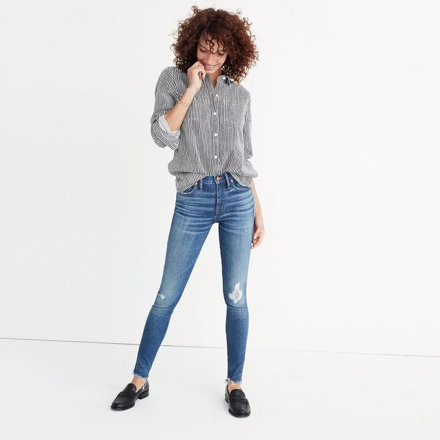 """9"""" High-Rise Skinny Jeans in Allegra Wash: Rip and Repair Edition"""