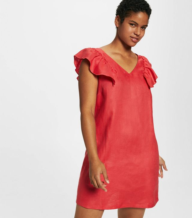 Violeta by Mango Ruffled Linen Dress