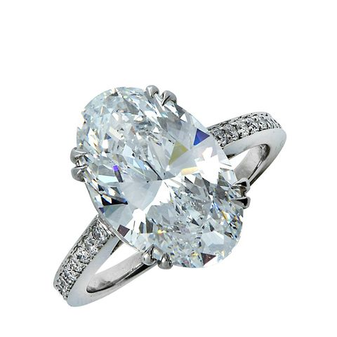 Graded 6.15 Carat Oval Cut Diamond Engagement Ring