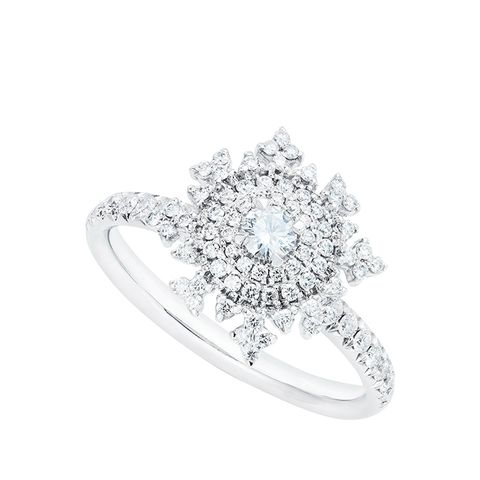 Petite Tsarina 18 Karat White Gold and Diamond Engagement Ring