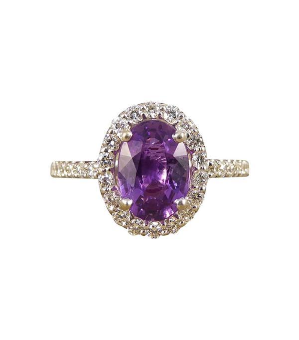 Purple Sapphire Diamond 18 Carat White Gold Engagement Ring