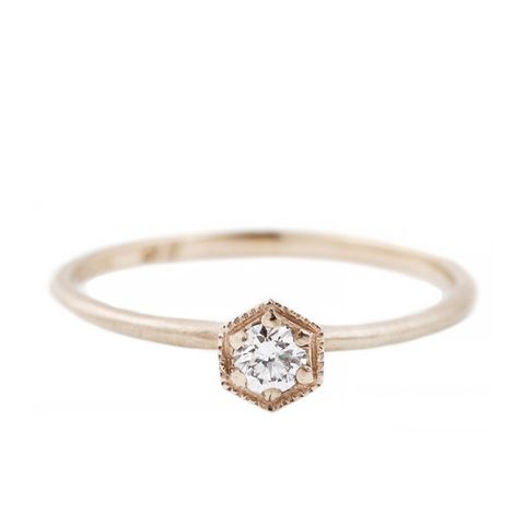 White Gold Hexagon Ring