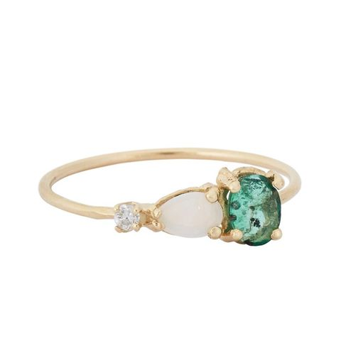 Emerald, Opal, and Diamond Ring