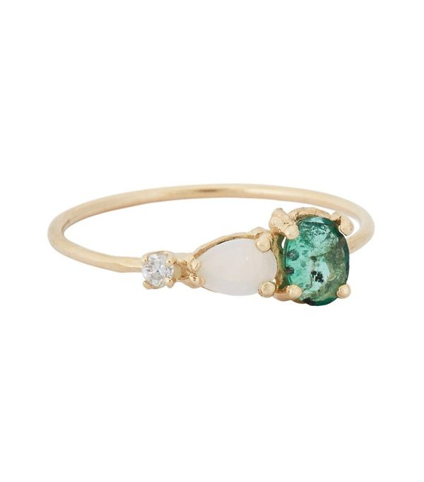 Loren Stewart Emerald, Opal, and Diamond Ring