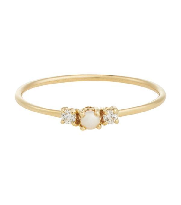 Jennie Kwon Diamond & Pearl Ring