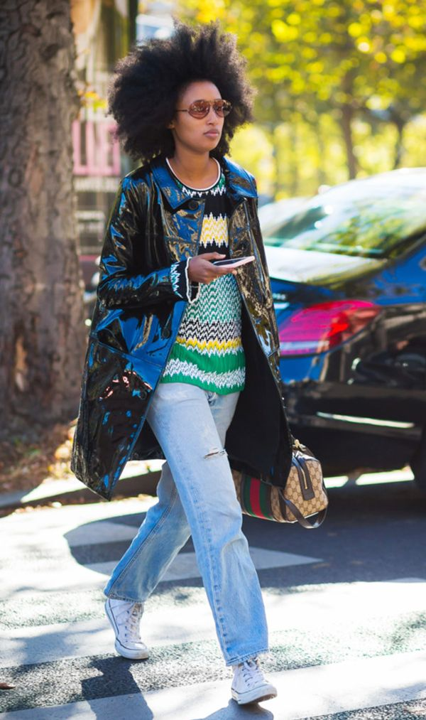 Julia Sarr Jamois in Vintage Jeans and Vinyl Jacket
