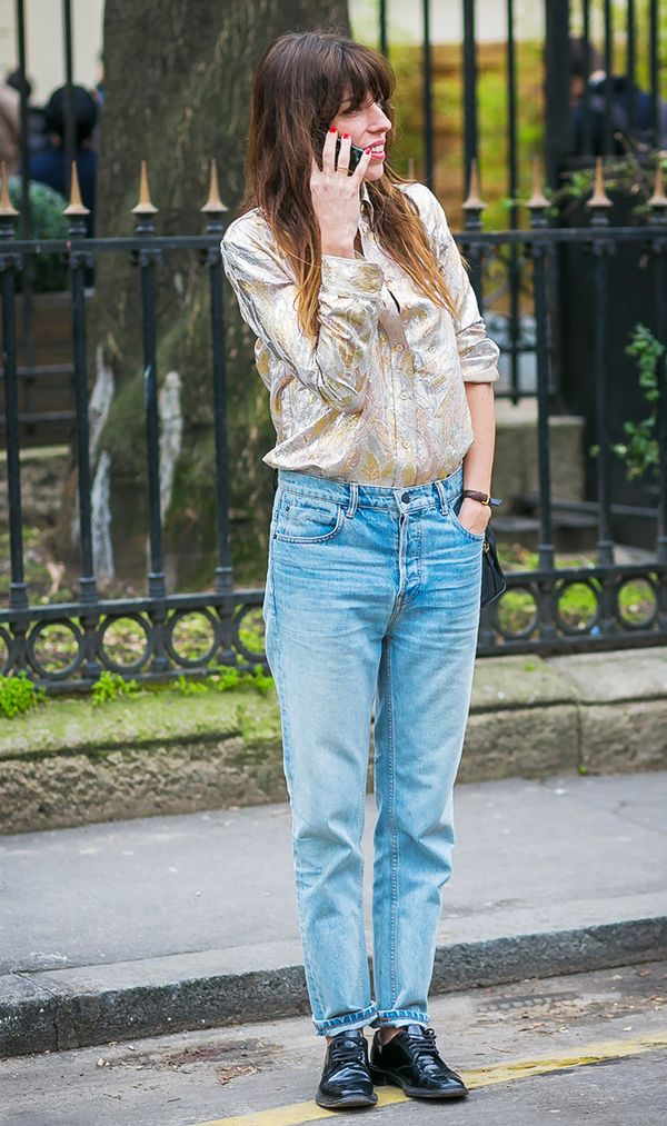 Lou Doillon in boyfriend jeans and silk blouse