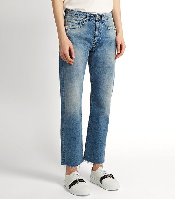 Rip distressed-pocket jeans