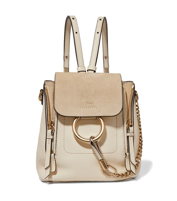 stylish backpacks - Chloé Faye mini leather and suede backpack