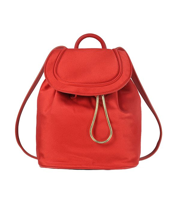 stylish backpacks - Diane Von Furstenberg Satin Backpack w/Drawstring Flap Closure