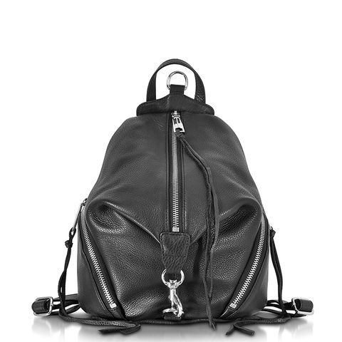 Julian Black Leather Medium Backpack