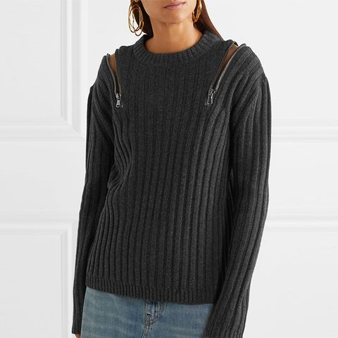 Zip-Embellished Ribbed-Knit Sweater