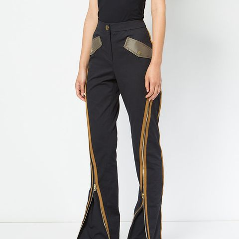 Zipper Detail Flared Trousers