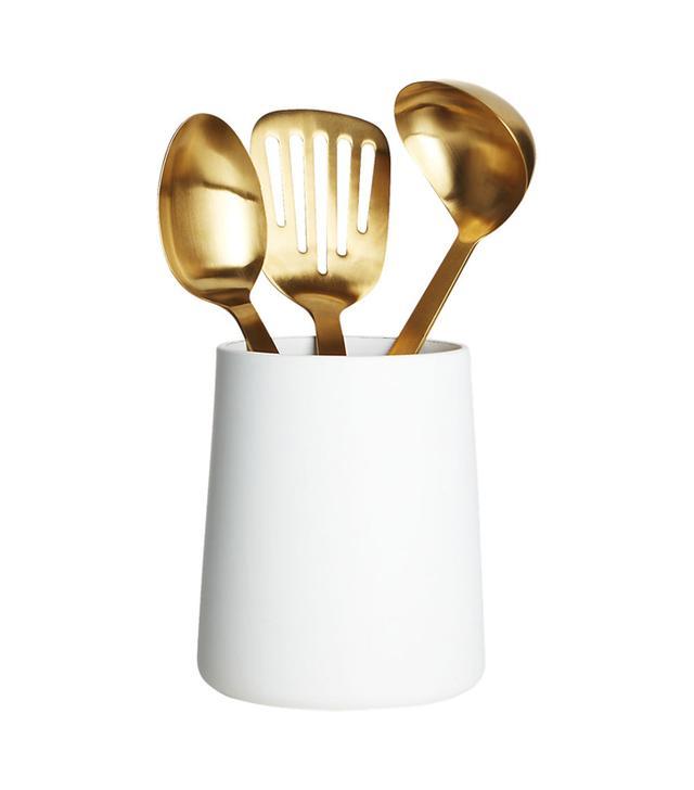 matte white utensil holder