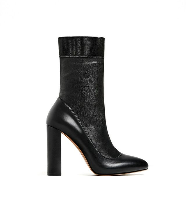 Zara High Heel Stretch Leather Ankle Boots