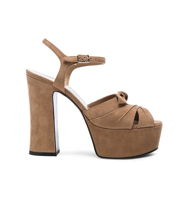 Saint Laurent Candy Platform Suede Heels in Camois
