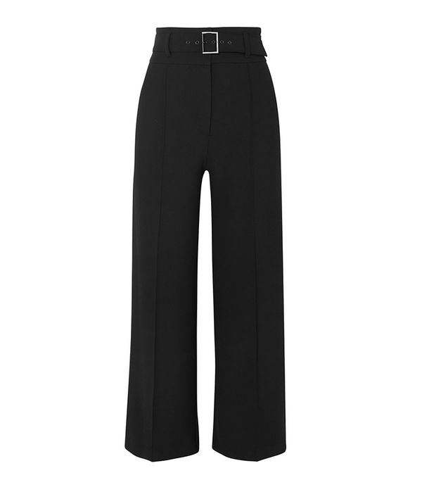 Lyla Cropped Crepe Wide-Leg Pants