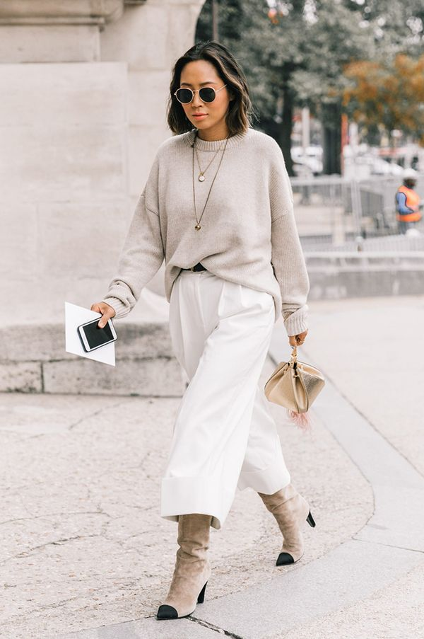 sophisticated wide-leg pants styling
