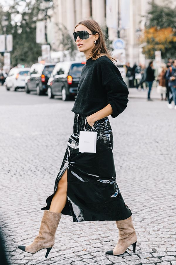 sophisticated way to wear leather