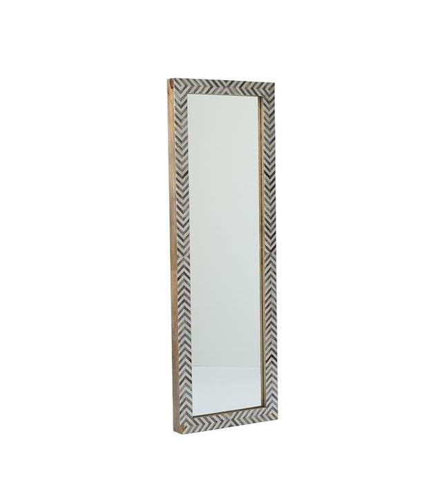 West Elm Parsons Floor Mirror Gray Herringbone