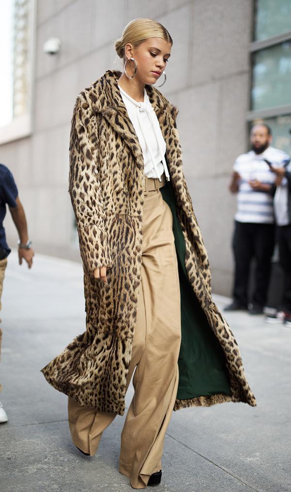 sofia richie leopard coat