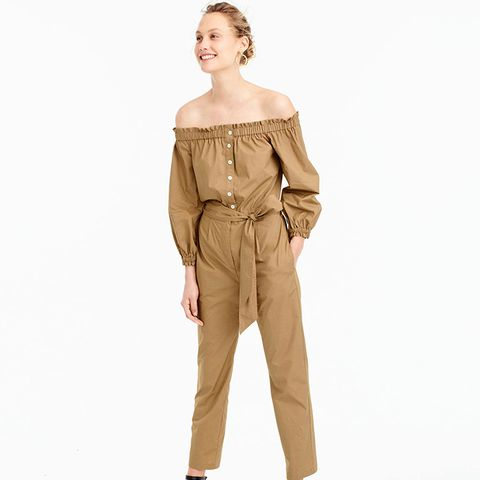 Off-the-Shoulder Khaki Jumpsuit
