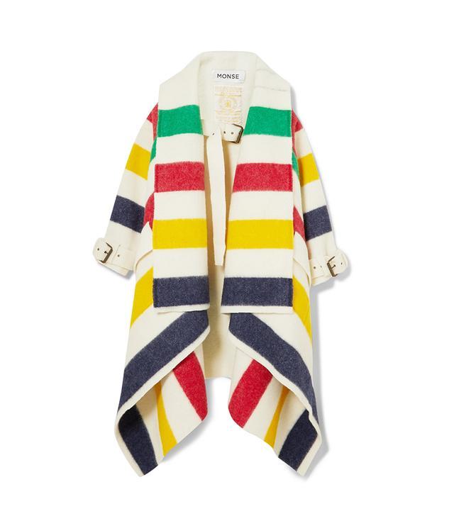 Monse Hudson's Bay Striped Wool-Felt Blanket Coat