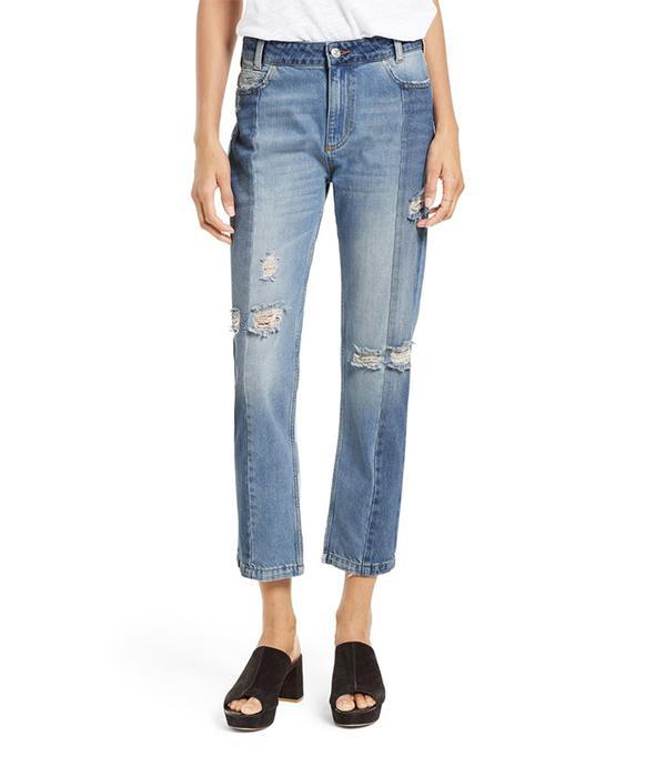The Patchwork High Waist Crop Jeans