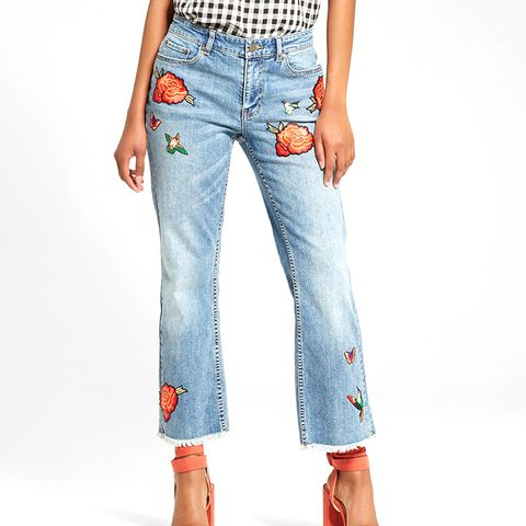Women's Embroidered Light Wash Jeans